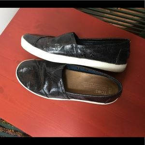 Toms Black oilcloth loafers